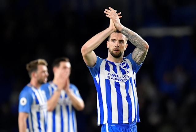 """Soccer Football - Premier League - Brighton & Hove Albion vs Tottenham Hotspur - The American Express Community Stadium, Brighton, Britain - April 17, 2018 Brighton's Shane Duffy applauds their fans after the match REUTERS/Toby Melville EDITORIAL USE ONLY. No use with unauthorized audio, video, data, fixture lists, club/league logos or """"live"""" services. Online in-match use limited to 75 images, no video emulation. No use in betting, games or single club/league/player publications. Please contact your account representative for further details."""