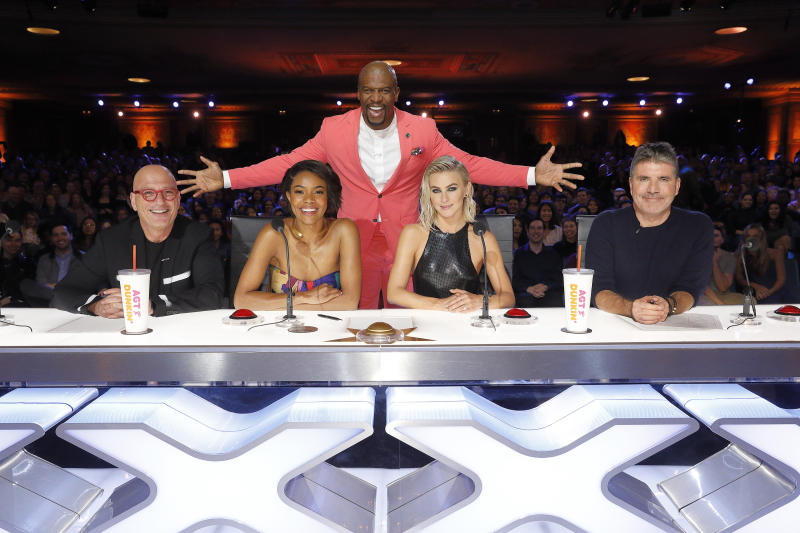 "AMERICA'S GOT TALENT -- ""Auditions 4"" Episode 1404 -- Pictured: (l-r) Howie Mandel, Gabrielle Union, Terry Crews, Julianne Hough, Simon Cowell -- (Photo by: Trae Patton/NBCU Photo Bank/NBCUniversal via Getty Images via Getty Images)"