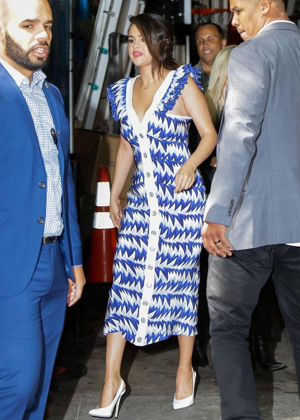 <p>Wearing a blue and white button-down Chanel dress for her appearance on <em>Live With Kelly and Ryan</em>.</p>