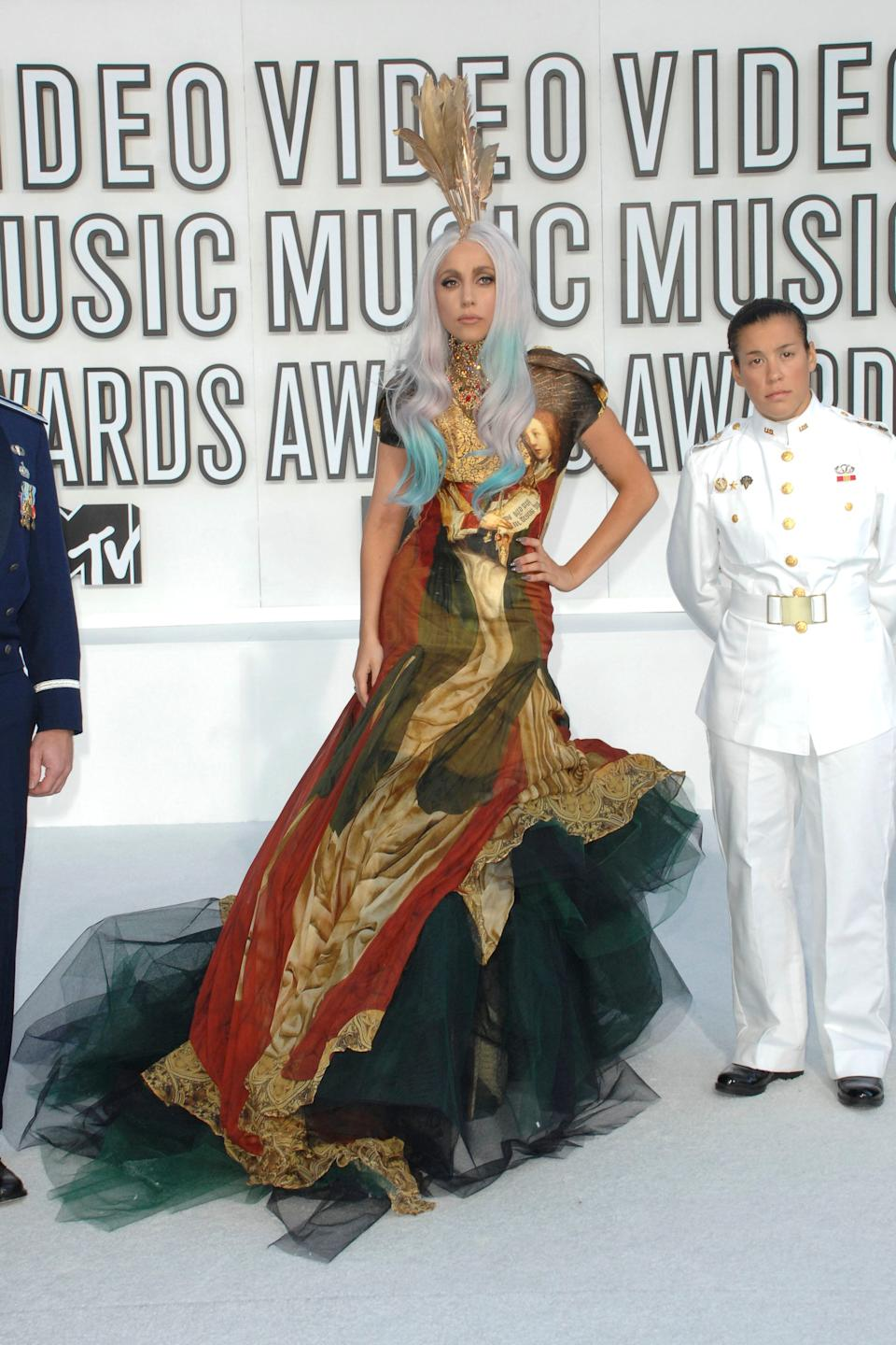 Gaga wears this gown by Alexander McQueen -- one of the designer's final pieces -- at the 2010 Video Music Awards on Sept. 10, 2010.