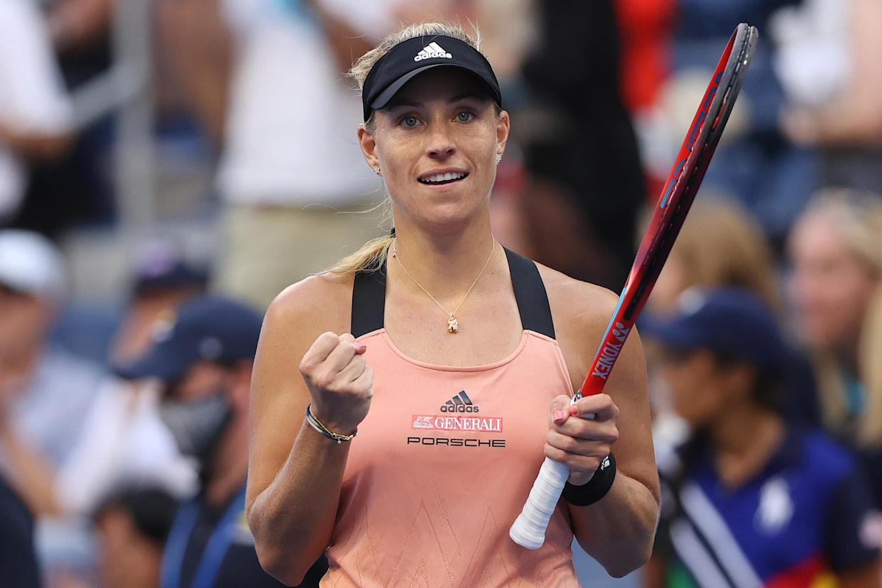 NEW YORK, NEW YORK - SEPTEMBER 03: Angelique Kerber of Germany waves to the crowd after defeating Sloane Stephens of the United States during her Women's Singles third round match on Day Five at USTA Billie Jean King National Tennis Center on September 03, 2021 in New York City. (Photo by Matthew Stockman/Getty Images)
