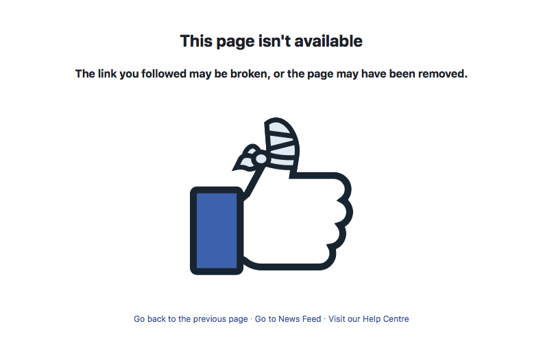<em>A search of the page now comes up with an 'unavailable' link (Facebook)</em>