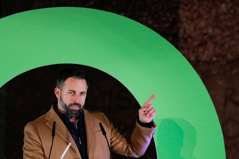 FILE PHOTO: Santiago Abascal, leader of Spain's far-right party VOX, attends a campaign closing rally ahead of the general election, at Colon square in Madrid
