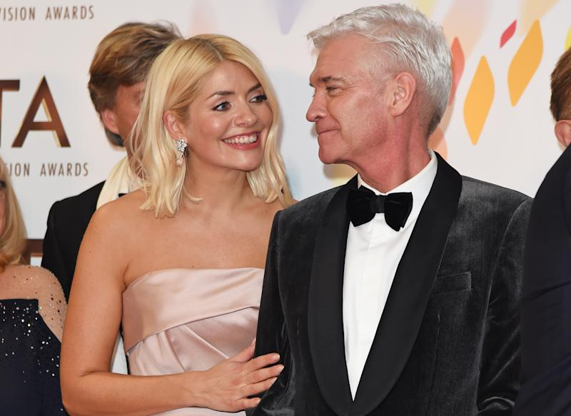 """Holly Willoughby and Phillip Schofield, accepting the Live Magazine Show award for """"This Morning"""", pose in the winners room at the National Television Awards 2020 at The O2 Arena on January 28, 2020 in London, England. (Photo by David M. Benett/Dave Benett/Getty Images)"""
