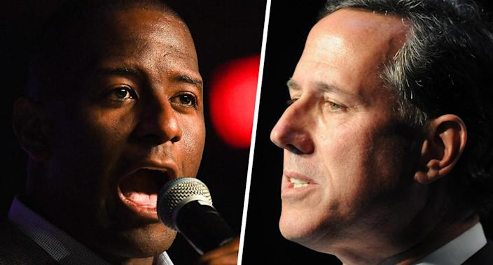 Former Tallahassee, Fla., Mayor Andrew Gillum. (Photo: Jeff J Mitchell/Getty Images); former Pennsylvania Sen. Rick Santorum. (Photo: Steve Pope/Getty Images)