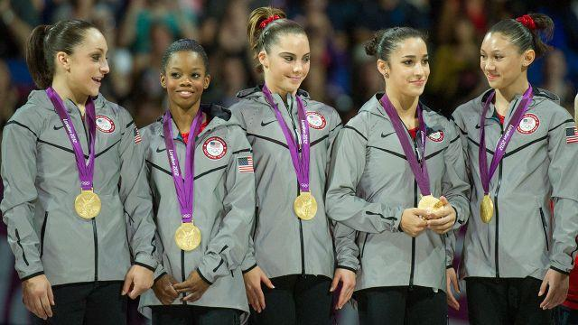 Maroney (centre) won gold in the team event in London. Image: Getty