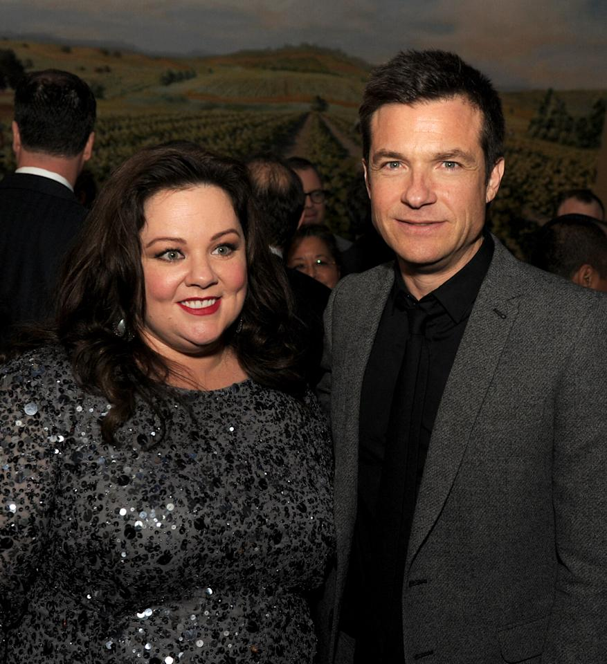 "LOS ANGELES, CA - FEBRUARY 04:  Actors Melissa McCarthy (L) and Jason Bateman pose at the after party for the premiere of Universal Pictures' ""Identity Theft"" at Napa Valley Grille on February 4, 2013 in Los Angeles, California.  (Photo by Kevin Winter/Getty Images)"