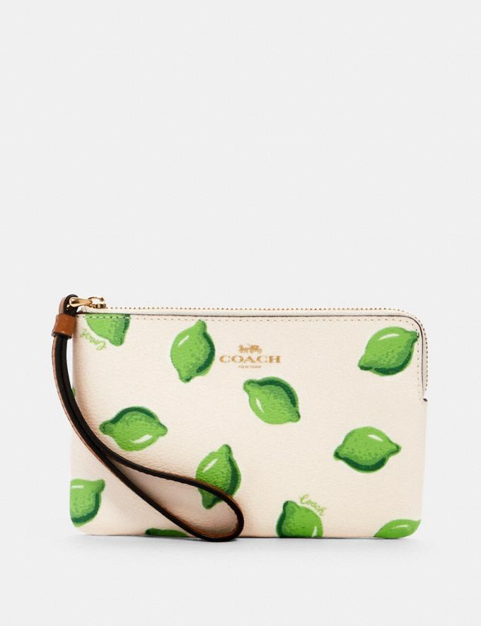 Corner Zip Wristlet With Lime Print- Coach Outlet.