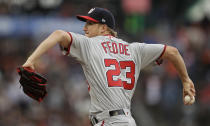 Washington Nationals pitcher Erick Fedde works against the San Francisco Giants in the first inning of a baseball game Monday, Aug. 5, 2019, in San Francisco. (AP Photo/Ben Margot)