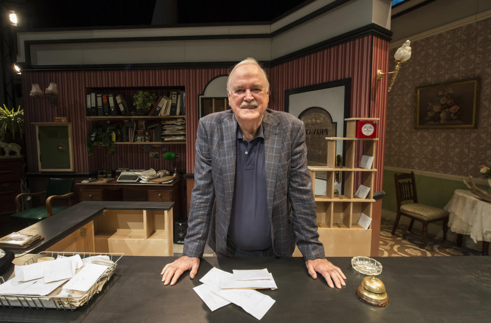 SYDNEY, AUSTRALIA - AUGUST 10: In an historic moment, creator and co-writer of Fawlty Towers, John Cleese came together for the first time to rehearse with the actors of Fawlty Towers - Live on August 10, 2016 in Sydney, Australia. The show has its world premiere at the Roslyn Packer Theatre on August 20, 2016 in Sydney, Australia.  (Photo by James D. Morgan/Getty Images)