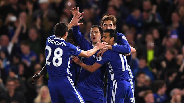 Eden Hazard scored either side of Sergio Aguero's equaliser as Chelsea brought the Premier League title closer by beating Manchester City.