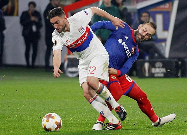 Soccer Football - Europa League Round of 16 Second Leg - Olympique Lyonnais vs CSKA Moscow - Groupama Stadium, Lyon, France - March 15, 2018 Lyon's Jordan Ferri in action with CSKA Moscow's Bibras Natcho REUTERS/Emmanuel Foudrot