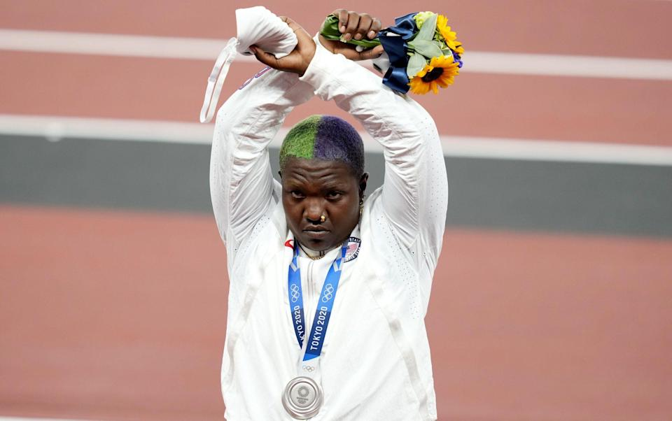 Silver medallist Raven Saunders of the USA during the medal ceremony for the Women's shot put during the Athletics events of the Tokyo 2020 Olympic Games at the Olympic Stadium in Tokyo, Japan, 01 August 2021. - FRANCK ROBICHON/EPA-EFE/Shutterstock