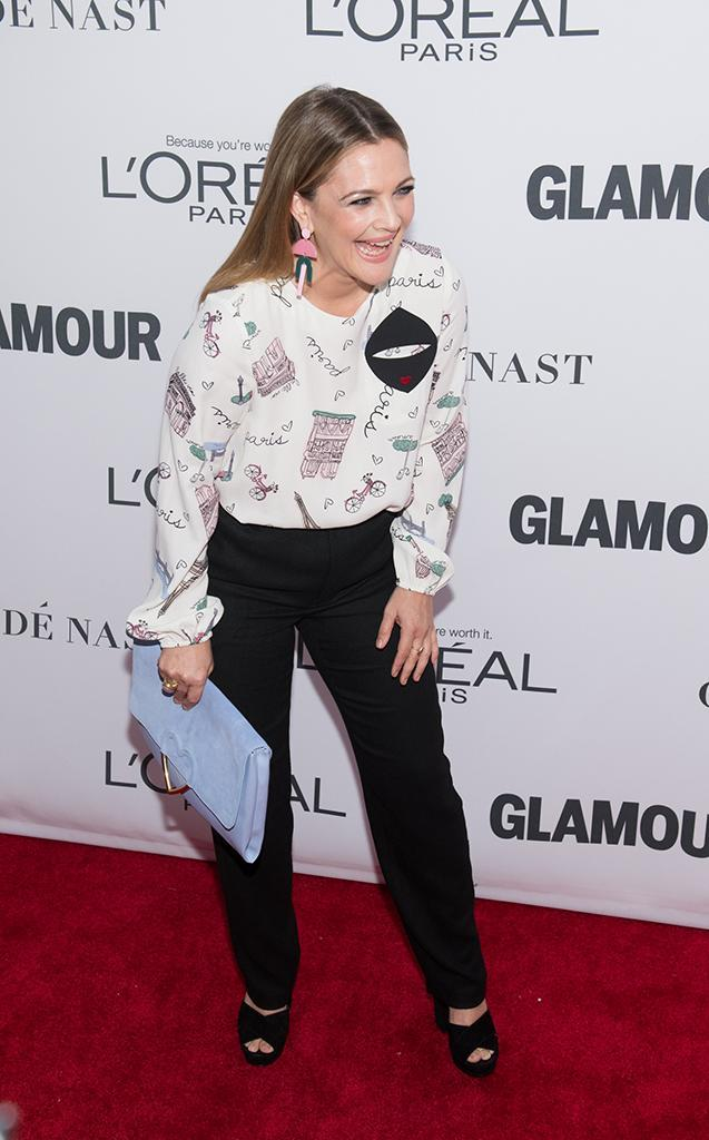 <p>The <em>Santa Clarita Diet</em> star was simply glowing at the 2017 <em>Glamour</em> Women of the Year Awards in NYC on Monday. Wearing a Paris-inspired top, Drew cracked up on the red carpet. (Photo: Noam Galai/WireImage) </p>