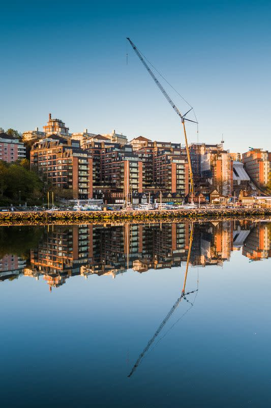 A drone picture shows a development of former office buildings into apartments in Stockholm
