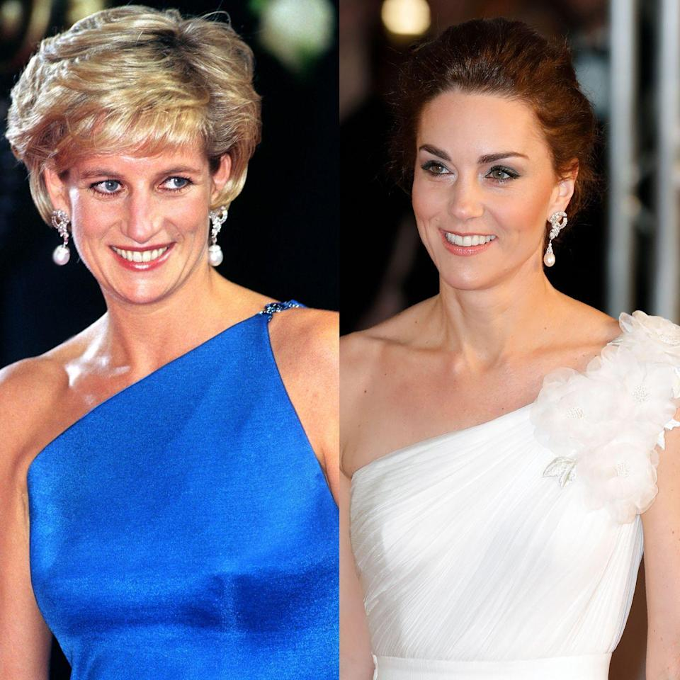 """<p>These elegant diamond and pearl earrings were among Diana's favorite pieces of jewelry. Kate wore the earrings to <a href=""""https://www.townandcountrymag.com/style/jewelry-and-watches/a26287274/kate-middleton-princess-diana-pearl-earrings-bafta-awards-2019/"""" rel=""""nofollow noopener"""" target=""""_blank"""" data-ylk=""""slk:the 2019 BAFTAs in London."""" class=""""link rapid-noclick-resp"""">the 2019 BAFTAs in London. </a></p>"""