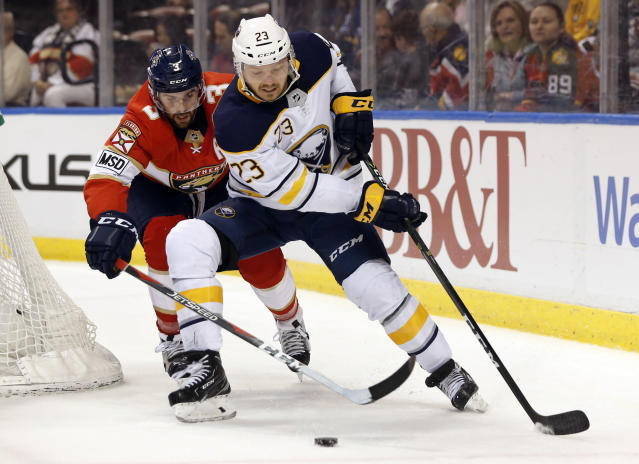 "<a class=""link rapid-noclick-resp"" href=""/nhl/players/6368/"" data-ylk=""slk:Sam Reinhart"">Sam Reinhart</a> has been racking up the points with the man advantage this season. (AP Photo/Wilfredo Lee, File)"