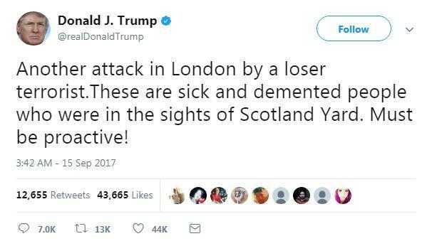 Donald Trump took to Twitter after the Parsons Green attack (Twitter)