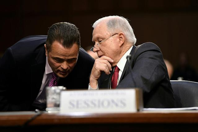 <p>Attorney General Jeff Sessions(R) testifies during a US Senate Select Committee on Intelligence hearing on Capitol Hill in Washington, DC, June 13, 2017. (Photo: Saul Loeb/AFP/Getty Images) </p>