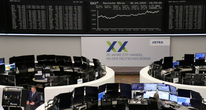 European shares at one-month high on hopes coronavirus crisis may be easing