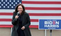 FILE PHOTO: Democratic vice presidential nominee Kamala Harris campaigns in Detroit