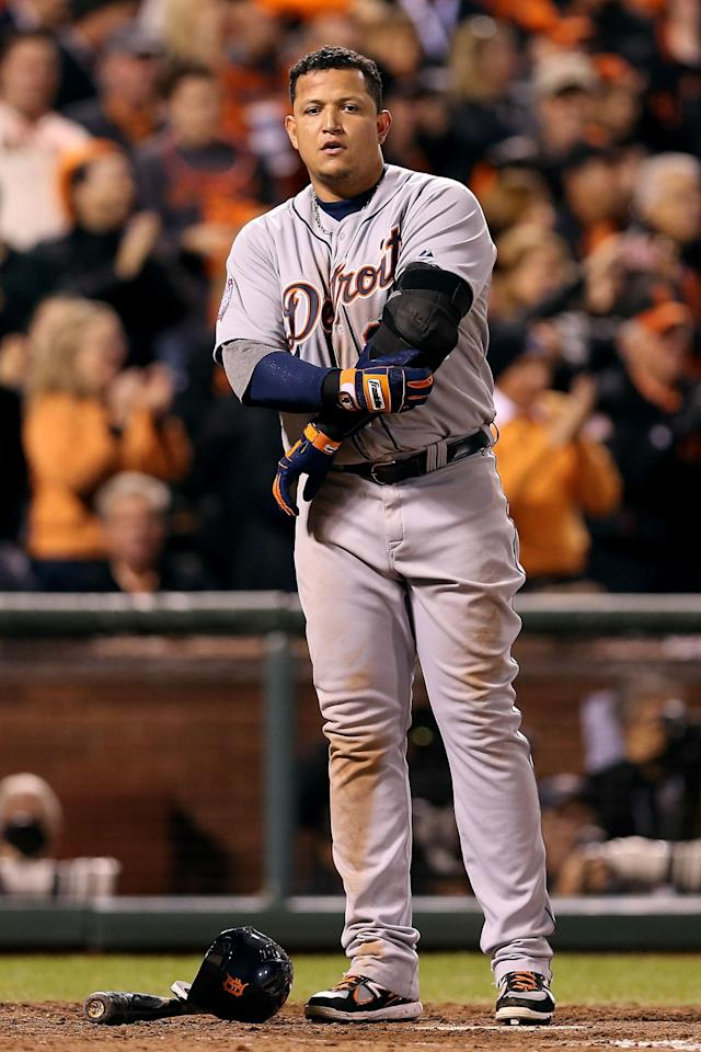 SAN FRANCISCO, CA - OCTOBER 24: Miguel Cabrera #24 of the Detroit Tigers reacts after being stuckout by Tim Lincecum #55 of the San Francisco Giants in the eighth inning during Game One of the Major League Baseball World Series at AT&T Park on October 24, 2012 in San Francisco, California. (Photo by Christian Petersen/Getty Images)