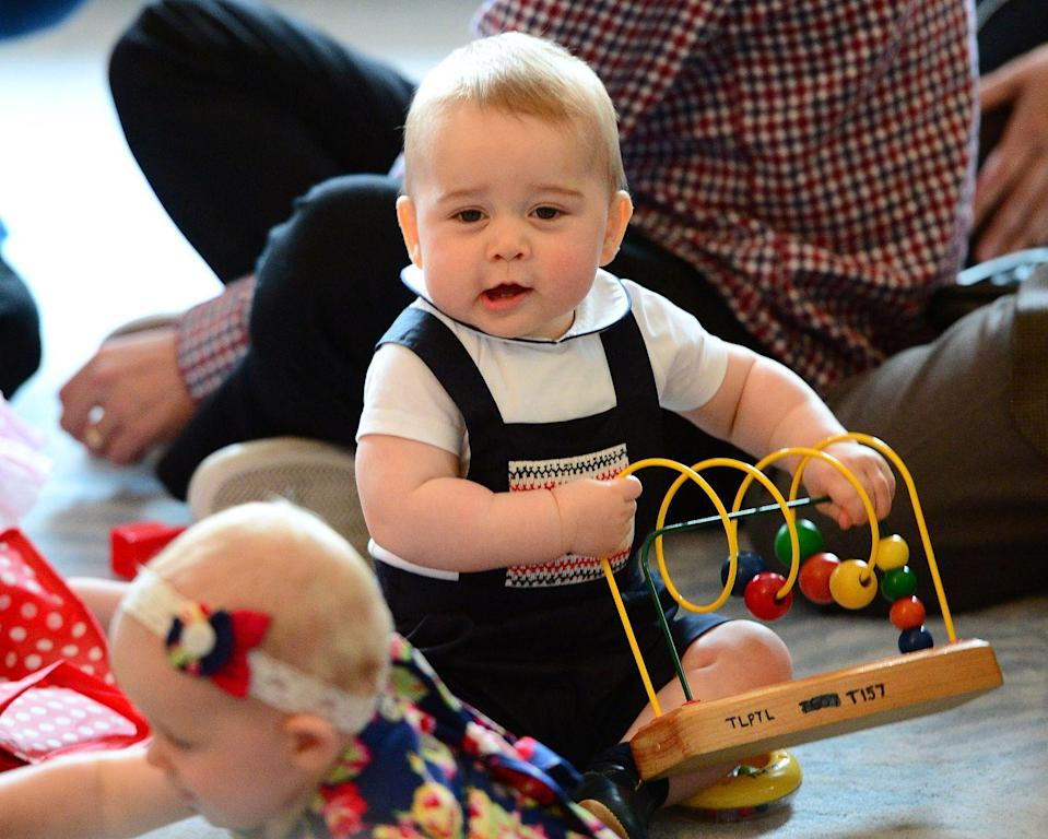 <p>Prince George attends a Plunket Play Group at Government House in Wellington, New Zealand, during his first official trip overseas.</p>