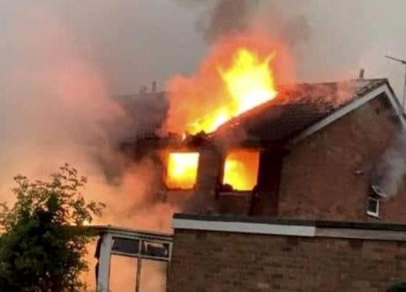 These pictures show the house that was destroyed by fire after being struck by lightning (Picture: SWN)
