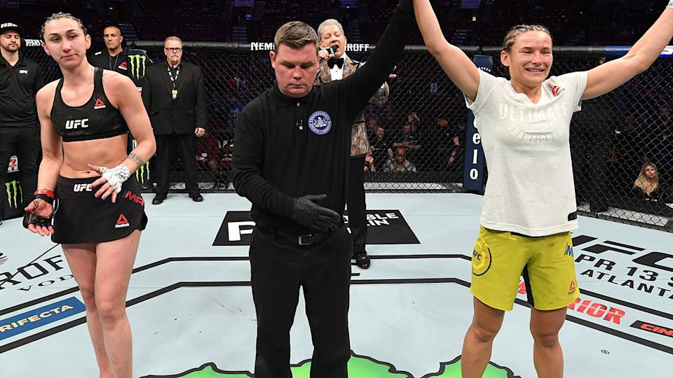 Maryna Moroz, pictured here after her win over Sabina Mazo at UFC Fight Night in 2019.