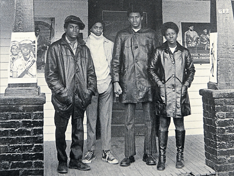 """<span class=""""caption"""">Members of the Black Panther Party outside the High Point property raided by police</span> <span class=""""attribution""""><a class=""""link rapid-noclick-resp"""" href=""""https://www.hpenews.com/"""" rel=""""nofollow noopener"""" target=""""_blank"""" data-ylk=""""slk:Sonny Hedgecock/High Point Enterprise"""">Sonny Hedgecock/High Point Enterprise</a>, <a class=""""link rapid-noclick-resp"""" href=""""http://creativecommons.org/licenses/by-sa/4.0/"""" rel=""""nofollow noopener"""" target=""""_blank"""" data-ylk=""""slk:CC BY-SA"""">CC BY-SA</a></span>"""