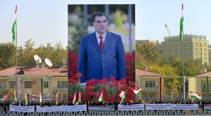 Tajikistan's President Emomali Rakhmon, seen on a banner on November 3, 2013 in Dushanbe, could see the end of any formal opposition after this trial