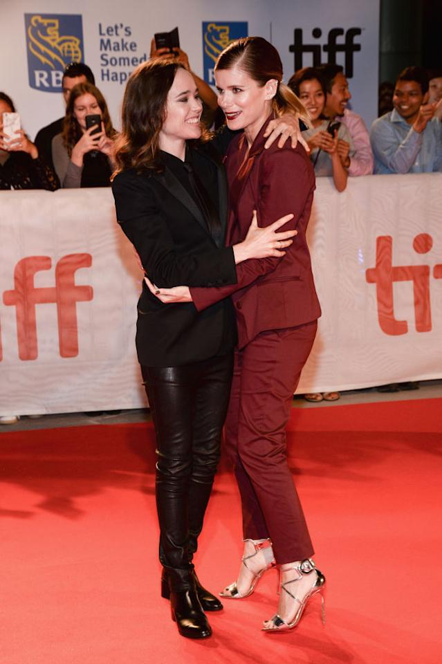 """<p>Actresses Ellen Page and Kate Mara rock skinny suits and heels at the TIFF premiere of their latest flick """"My Days Of Mercy"""" at Roy Thomson Hall. <em>(TIFF 2017 Day 9, Sept. 15, '17. Photo by Tara Ziemba/WireImage) </em> </p>"""