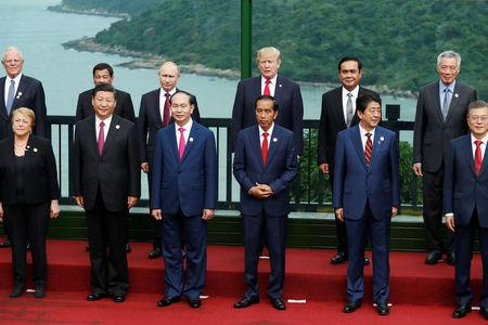 Leaders pose during the family photo session at the APEC Summit in Danang, Vietnam