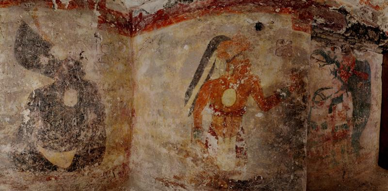 Artwork, the first to be found on walls of a Maya house, adorn a dwelling in the ruined city of Xultun in northeastern Guatemala. Archaeologists have found the small room where royal scribes apparently used walls like a blackboard to keep track of astronomical records and the society's intricate calendar some 1,200 years ago. Anthony Aveni of Colgate University, along with William Saturno of Boston University and others, are reporting the discovery in the Friday, May 11, 2012 issue of the journal Science. (AP Photo/National Geographic, Tyrone Turner)