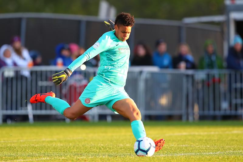 PISCATAWAY, NJ - APRIL 28: Portland Thorns FC goalkeeper Adrianna Franch (24) during the second half of the National Womens Soccer League game between Sky Blue FC and the Portland Thorns FC on April 28, 2019 at Yurcak Field in Piscataway, NJ. (Photo by Rich Graessle/Icon Sportswire via Getty Images)