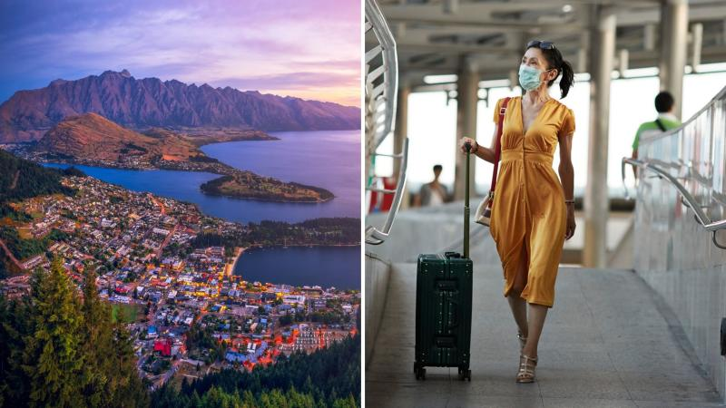 A panorama of New Zealand town of Queenstown on the left and a woman in a yellow dress and protective mask walking through an airport.