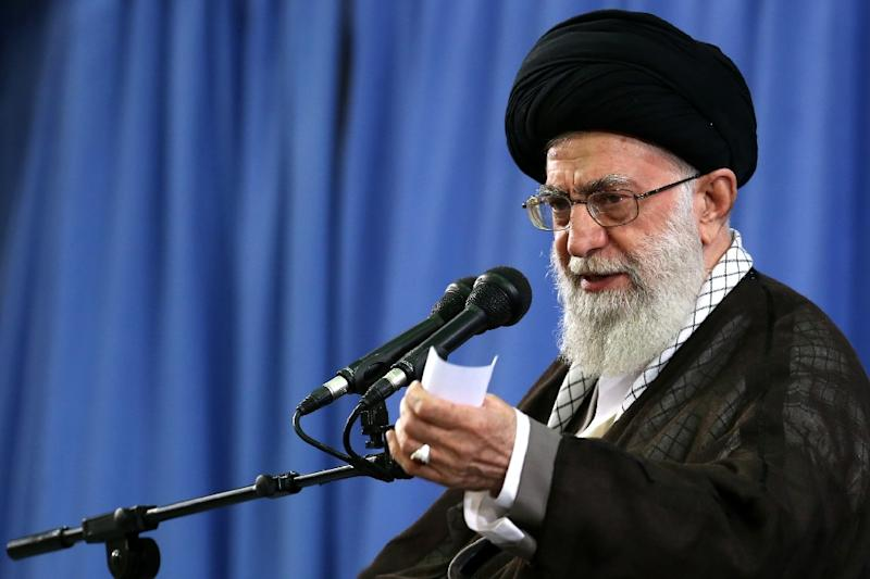 Iran's supreme leader Ayatollah Ali Khamenei addresses commanders of the Revolutionary Guards  in Tehran on September 16, 2015