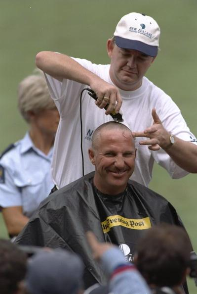 4 March 1997:  Retired England all rounder Ian Botham gets his head shaved for charity on the day of the fifth one day international between New Zealand and England at Wellington, New Zealand. \ Mandatory Credit: Clive Mason /Allsport