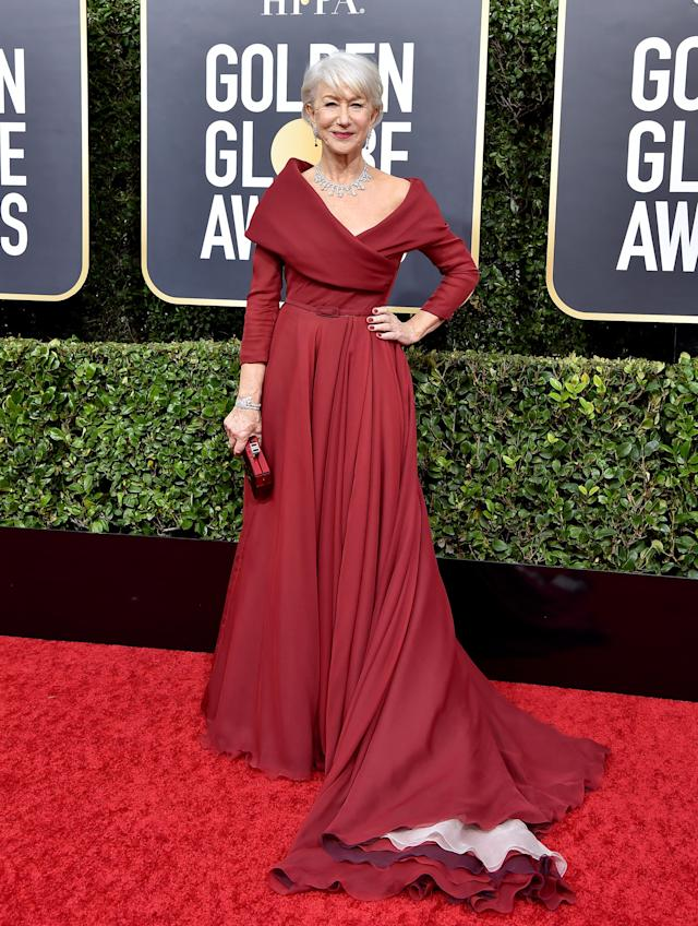 Helen Mirren wore a Christian Dior Haute Couture gown for the Golden Globe Awards 2020