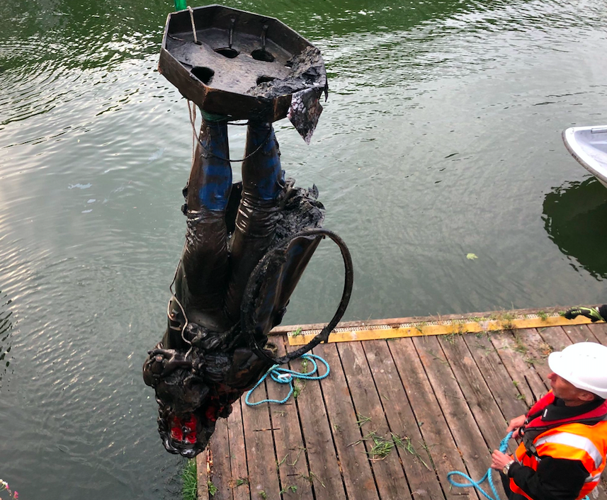 The Colston statue has been lifted out of Bristol Harbour and taken to a secure location. (Twitter/Bristol City Council)