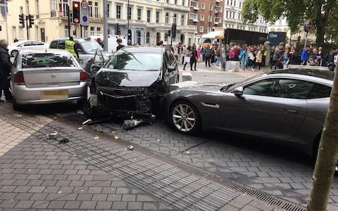 Car which hit pedestrians went on to plough into two other vehicles  - Credit: Danny Smith