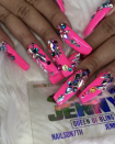 "<p>Cardi came through drippin' with these <a href=""https://www.instagram.com/p/BmWZaDIh9AU/?taken-by=iamcardib"" rel=""nofollow noopener"" target=""_blank"" data-ylk=""slk:neon pink rhinestone-studded talons"" class=""link rapid-noclick-resp"">neon pink rhinestone-studded talons</a>. </p>"