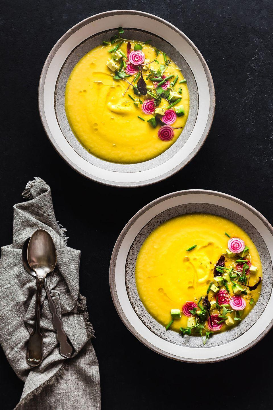 """<p>Top this bright and beautiful recipe with beets, micro greens, and hemp seeds for even more flavor.</p><p><strong>Get the recipe at <a href=""""http://lepetiteats.com/golden-beet-gazpacho/"""" rel=""""nofollow noopener"""" target=""""_blank"""" data-ylk=""""slk:Le Petit Eats"""" class=""""link rapid-noclick-resp"""">Le Petit Eats</a>.</strong></p>"""