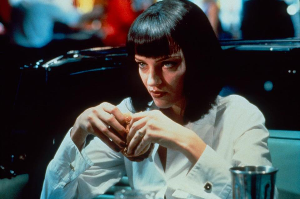 """<p>A hairstyle as noteworthy as the movie that launched it, <a href=""""https://www.popsugar.com/Uma-Thurman-Pulp-Fiction-Halloween-Costume-19760289"""" class=""""link rapid-noclick-resp"""" rel=""""nofollow noopener"""" target=""""_blank"""" data-ylk=""""slk:Uma Thurman's Mia Wallace"""">Uma Thurman's Mia Wallace</a> is a fast-talking wife of a gangster with a sleek bob and amazing style. Black cropped pants, a white button-down, and your wig are all you need to do the twist with Vincent Vega.</p>"""