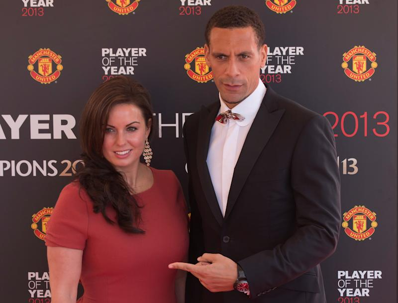 Rio Ferdinand with his late wife Rebecca Ellison in 2013. She died in 2015 after battling breast cancer. (AP)
