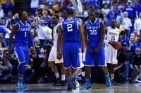 ST LOUIS, MO - MARCH 23: Julius Randle #30 of the Kentucky Wildcats reacts after basket and drawing a foul against the Wichita State Shockers during the third round of the 2014 NCAA Men's Basketball Tournament at Scottrade Center on March 23, 2014 in St Louis, Missouri. (Photo by Dilip Vishwanat/Getty Images)