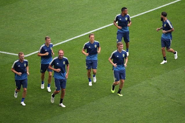 Soccer Football - World Cup - Sweden Training - Fisht Stadium, Sochi, Russia - June 22, 2018 General view of Sweden's Andreas Granqvist with team mates during training REUTERS/Hannah McKay
