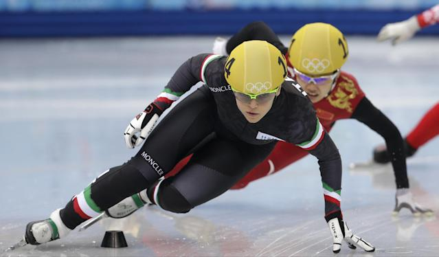 Arianna Fontana of Italy competes in a women's 500m short track speedskating heat at the Iceberg Skating Palace during the 2014 Winter Olympics, Monday, Feb. 10, 2014, in Sochi, Russia. (AP Photo/Darron Cummings)
