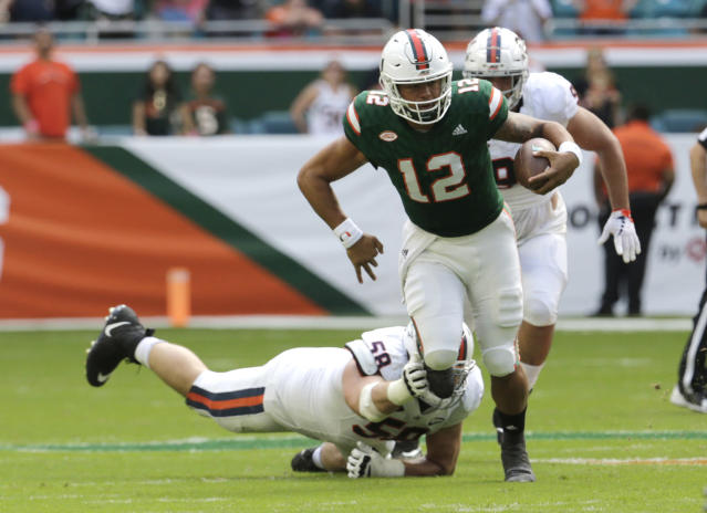 "Miami quarterback <a class=""link rapid-noclick-resp"" href=""/ncaaf/players/240751/"" data-ylk=""slk:Malik Rosier"">Malik Rosier</a> completed 15-of-28 passes for 210 yards and 3 touchdowns vs. Virginia on Saturday. (AP Photo/Lynne Sladky)"