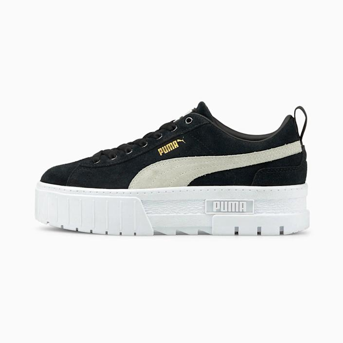 <p>These cool <span>Puma Mayze Sneakers</span> ($90) go with everything. We love that they have a little platform too, because a little height is always a good thing.</p>